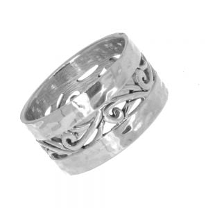 Sterling Silver Jewellery: Chunky Hammered Ring with Swirl Pattern