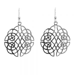 Statement Sterling Silver Jewellery: Large Intricate Celtic Weave Earrings