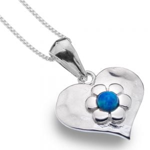Sterling Silver Jewellery: Heart Drops With Blue Opal Daisies