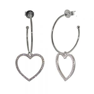 Sterling Silver Jewellery: 29mm Hoops with Large Crystal Hearts