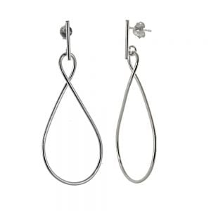 Elegant Sterling Silver Jewellery: Long Statement Infinity Drop Earrings