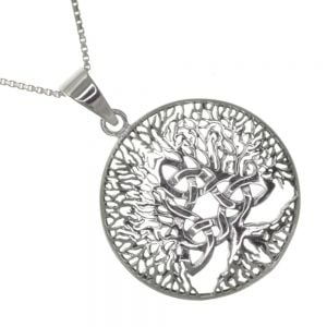 Celtic Sterling Silver Jewellery:  27mm Round Pendant with Tree of Life and Triquetra Design ()
