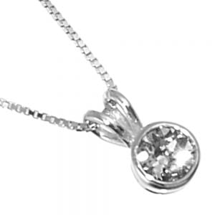 Sterling Silver Jewellery: Tiny Round Swarovski Crystal Pendant