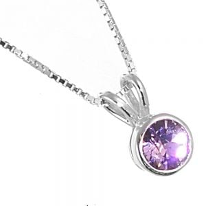 Sterling Silver Jewellery: Tiny Round Pal Lilac Swarovski Crystal Pendant  (N386Lilac)