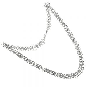 ONLINE EXCLUSIVE SALE Sterling Silver Jewellery: Contemporary Multiple Link Design Necklace (45cm) (N221)