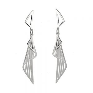 Contemporary Sterling Silver Jewellery: Statement Earrings with Overlapping Triangles (14mm x 63mm) (E716)