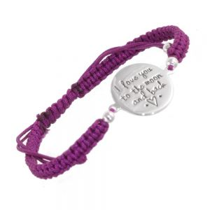 Sterling Silver Jewellery: 'I Love You To The Moon and Back' Quote Drawstring Cord Bracelet