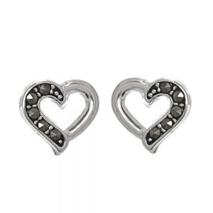 Sterling Silver Jewellery: Small  Heart Stud Earrings with Half Marcasite Design (10mm)