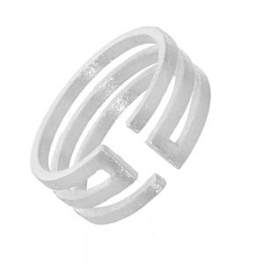 Adjustable Triple Band Matte Finish Ring
