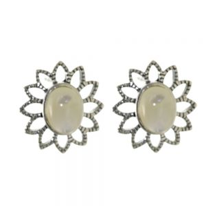 NEW Pretty Sterling Silver Jewellery: 17mm Flower Stud Earrings with Mother of Pearl Centres (E629b)
