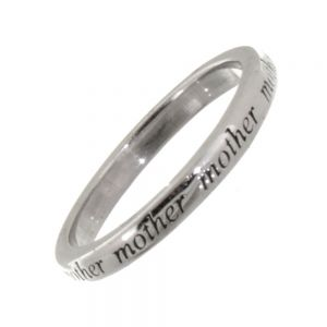 SALE Sterling Silver Ring with Repeated 'Mother' Inscription