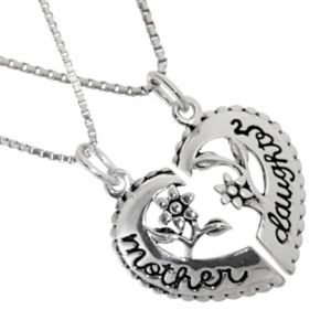 Set of Two Sterling Silver Necklaces with Connecting Mother and Daughter Floral Heart Pendants (N408)