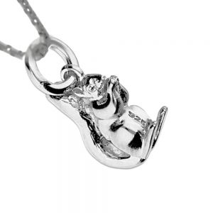 Quirky Sterling Silver: Cute Textured Squirrel Pendant (15mm x 8mm x 4mm) (N120)