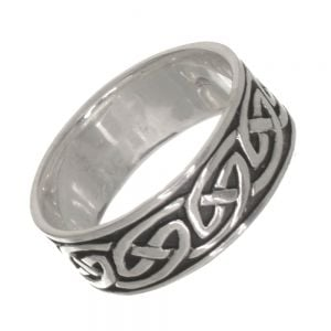 Sterling Silver Jewellery: Chunky 8mm Oxidised Band with Celtic Knotwork Design (SR40)