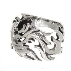Unsuual Sterling Silver Jewellery: 16mm Wide Dragon Sillhouette Design Ring