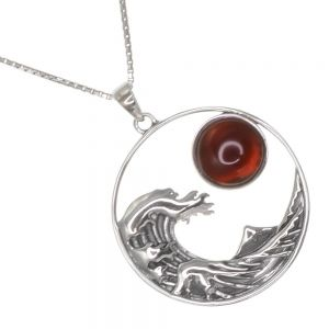 Stunning Sterling Silver Jewellery:  29mm Pendant with Wave, Mountain and Carnelian Sun Design (N28)