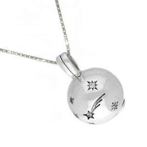 Lovely Sterling Silver Jewellery: Ball Locket Pendant with Cubic zirconia set shooting star ball (15mm) (N271)