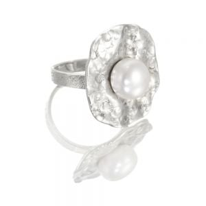 Sterling Silver Sale:  Geometric Statement Ring with Freshwater Pearl