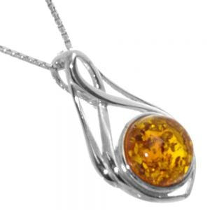 Sterling Silver Baltic Amber Pendant framed with a delicate Art Nouveau infinity design measuring approximately 29 mm long