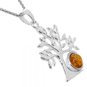 Sterling Silver Honey Tone Baltic Amber Pendant with a Tree design measuring approximately 26 mm long (E