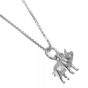 Unusual Sterling Silver Jewellery: Lovely Detailed Pig Pendant