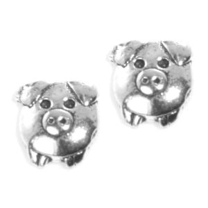 Cute Round Sterling Silver Pig Studs