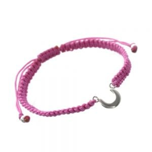 Sterling Silver Jewellery: Silver Crescent Moon and Pink Cord Bracelet (B90p)