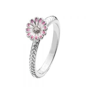 Textured Sterling Silver Stacking Ring With Pink Sparkle Flower