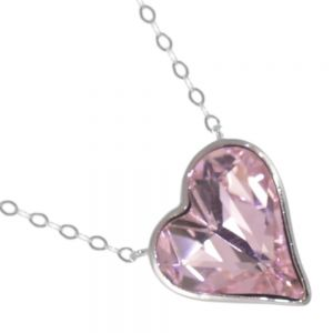 Sterling Silver Jewellery: Gorgeous Pink Swarovski Heart Shaped Crystal Pendant