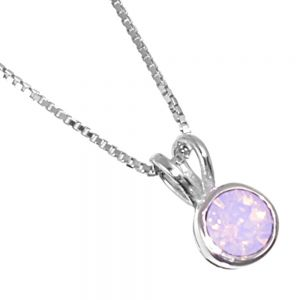Sterling Silver Jewellery: Tiny Round Light Pink Swarovski Crystal Pendant
