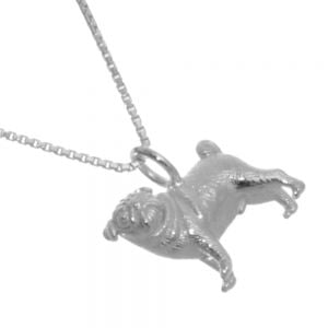 NEW Sterling Silver Jewellery: Lovely Detailed Pug Dog Pendant