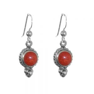 Sterling Silver Jewellery: Decorative Drops with Red Coral Resin Stone