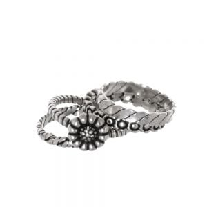 SALE Sterling Silver Jewellery: Four Piece Floral Stacking Ring Set with Oxidised Finish