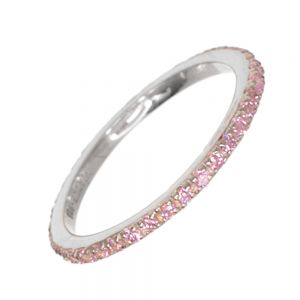 SALE Sterling Silver: Virtue Stacking Ring with Pink Crystals (SL330)