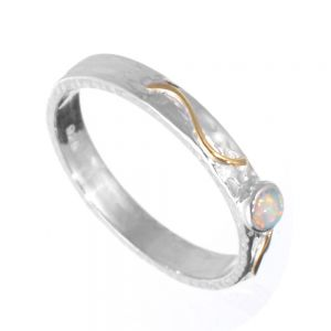 Elegant Sterling Silver Rings: Slender Band with Gold Filigree and White Opal Dot