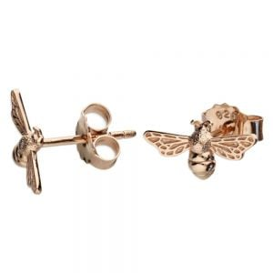 Beautiful Sterling Silver Jewellery: Small Rose Gold Plated Bumblebee Earrings