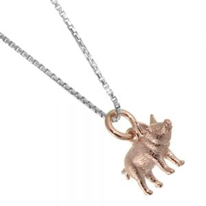 Lovely Sterling Silver Jewellery: Rose Gold Plated Pig Pendant
