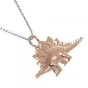 Amazing Sterling Silver Jewellery: Rose Gold Plated Stegosaurus Dinosaur Pendant