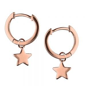 Minimalist Sterling Silver: ROSE GOLD Tiny Hinged Hoop Earrings with Star Charms (13mm x 19mm) (E400)