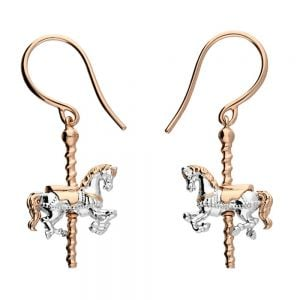 Quirky Sterling Silver Jewellery: Gorgeous Rose Gold and Silver Carousel Horse Earrings (37mm x 15mm) (E252)