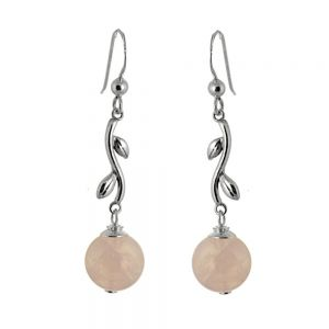 Pretty Sterling Silver Jewellery: Leafy Detail Earrings with Rose Quartz Beads (44mm Full Length) (E732)rq)