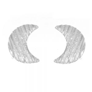 Sterling Silver Jewellery: Matt White Effect Textured Crescent Moon Stud Earrings