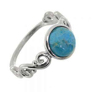 Sterling Silver Jewellery: Beautiful Swirl Design Ring with Large Turquoise Stone (Natural Stones Vary)