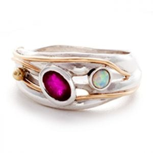 Beautiful Sterling Silver Jewellery: Stunning Ruby and Opalite Ring