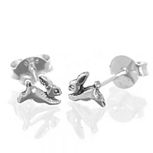 Sterling Silver Jewellery: Tiny Running Hare Stud Earrings