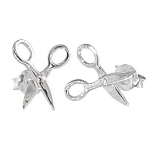 Quirky Sterling Silver Jewellery: Small Sewing Scissors Design Stud Earrings