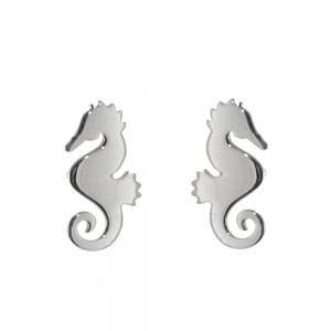 Quirky Sterling Silver Jewellery: Seahorse Silhouette Stud Earrins (6mm x 11mm) (E474)
