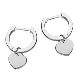 Minimalist Sterling Silver: Tiny Hinged Hoop Earrings with Little Heart Charms (13mm x 19mm) (E531)