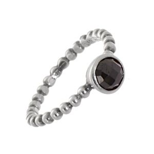 cheap CLEARANCE SALE Sterling Silver Size Q Ring with Round Black Faceted Stone (SL184)