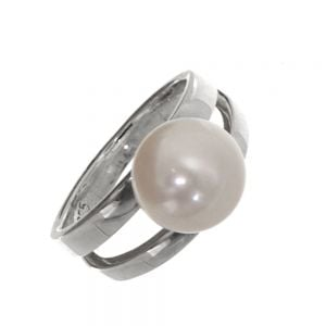 CLEARANCE SALE Sterling Silver Size L Double Band Ring with Freshwater Pearl (SL201)